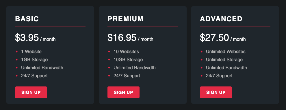 Flexbox Pricing Panel Layout