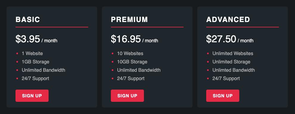Flexbox Pricing Panel Layout
