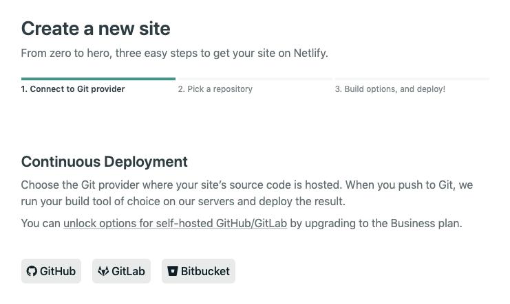 Netlify create new site