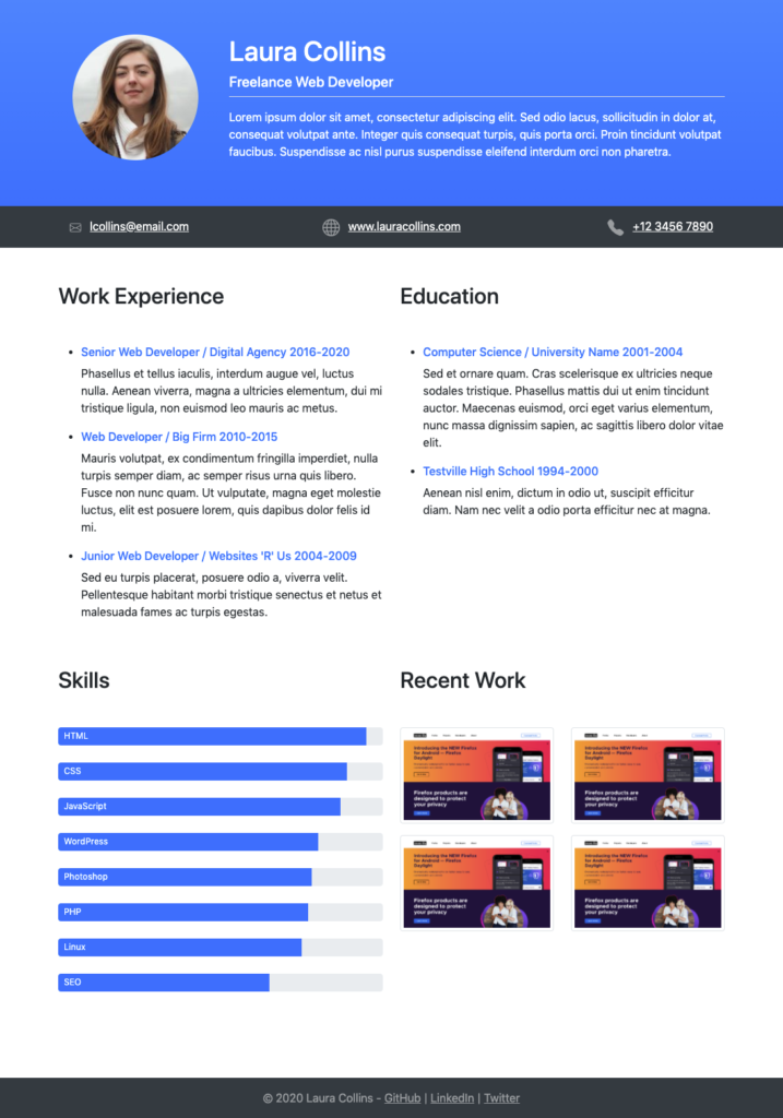 HTML resume built with Bootstrap CSS framework.